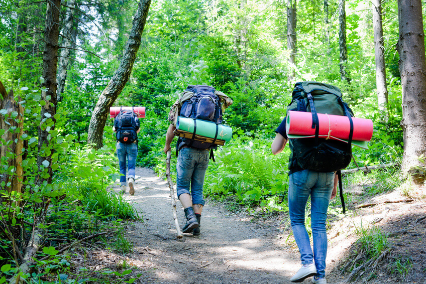 Young people hiking with backpacks. Happy travelers hikers having fun outdoors in forest.